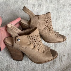 Altar'd state taupe Peep toe booties suede EUC